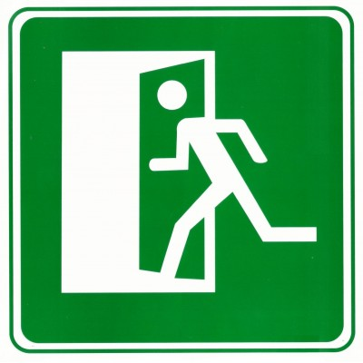 """Табличка (знак) аварийный выход - """"налево"""""""